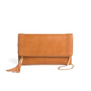 Brown Zip Clutch with Gold Chain
